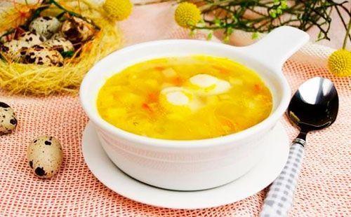 Суп с перепелиными яйцами