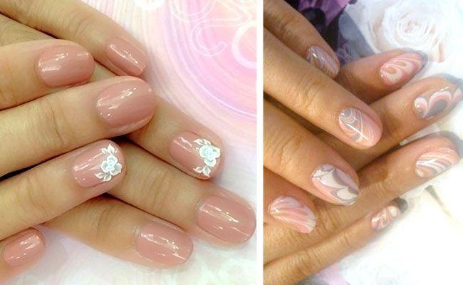 Nude nježna svijetlo roza lak za nokte na kratkim noktima