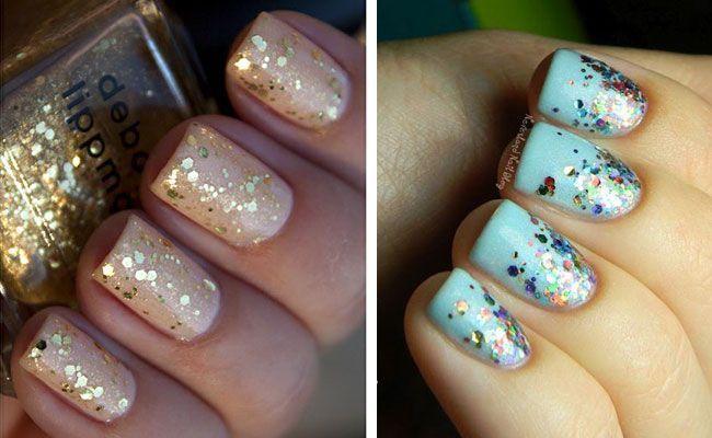 Glitter nail glitter nokti kratki