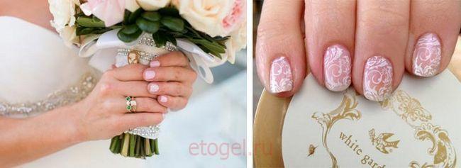 Vjenčanje manikir gel za nokte na kratkim noktima