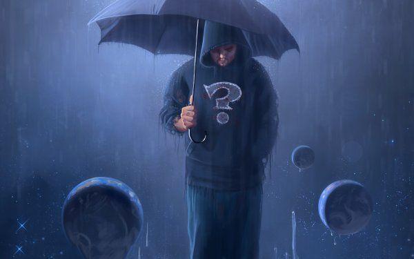 Одинокий романтик под дождем