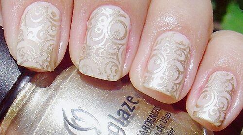 Prekrasna svadba manikura (skraćeno nokte, ruke) -3