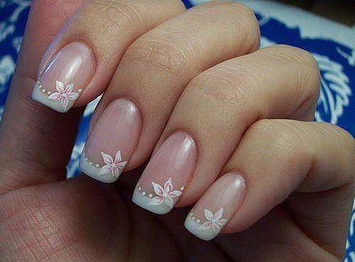 Prekrasna svadba manikura (skraćeno nokte, ruke) -5