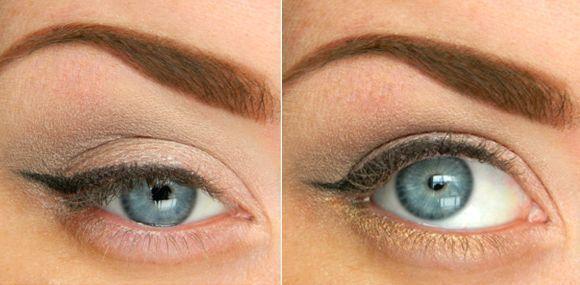 šminke oko očiju sa strelicama i sive senke za plave oči