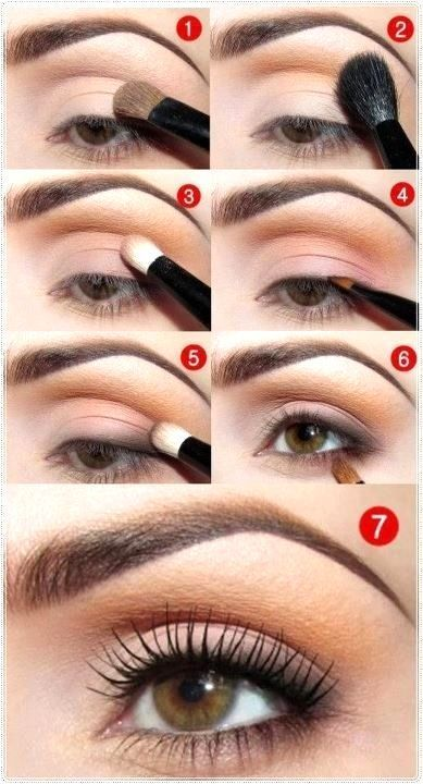 svjetlo dana make-up za smeđe oči, korak po korak