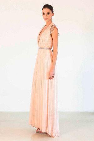 Длинное платье пастельного цвета