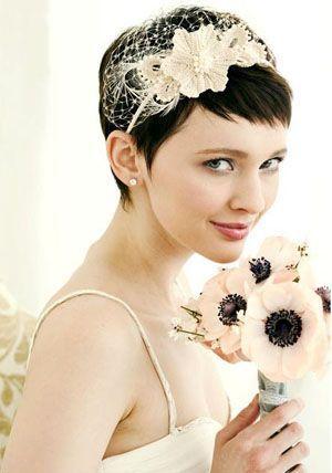 Прически для невесты на короткие волосы с челкой
