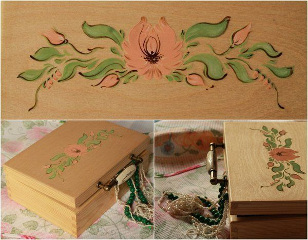 Роспись деревянной шкатулки