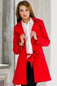 Ženski crveni ogrtač s bijelim bluzu Fuzer