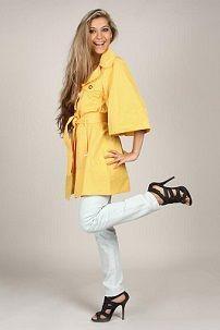 Ženski žuta kabanica sa bijelim jeans