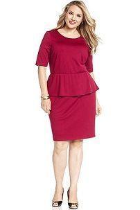 Платье-футляр светло-вишневого цвета с баской для полных