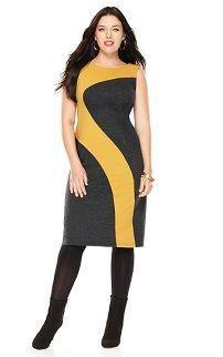 Разноцветное платье-футляр для полных