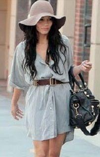 Siva ljetna haljina-shirt s pojasom