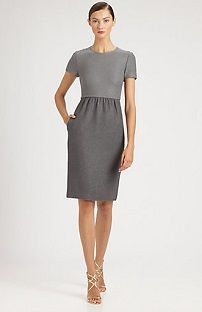 Siva ljetna haljina sa visokim strukom