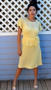Винтажное желтое летнее вязаное платье в стиле 70х