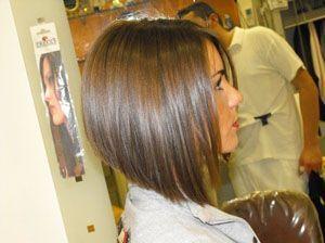 Стрижка боб на средние волосы с удлинением