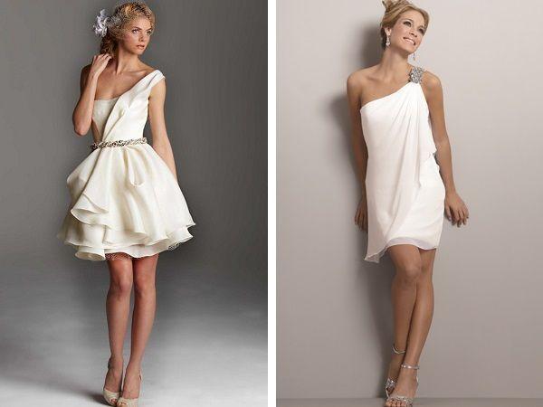 Свадебные платья с асимметричными бретелями
