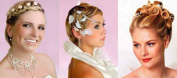 Варианты свадебные причесок на короткие волосы. Фото с сайта berry-girl.ru
