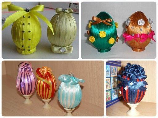 готовые примеры декорированных лентами яиц