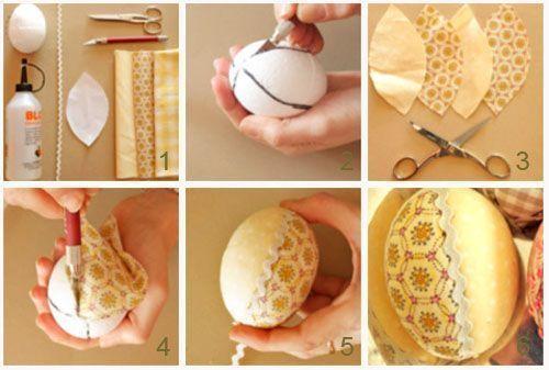 обшивание яиц лоскутками ткани