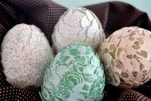 украшение яиц бумагой