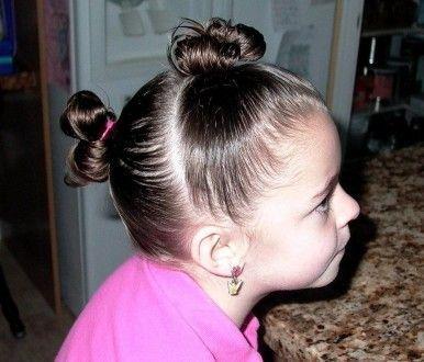 пучки из коротких волос, девочка