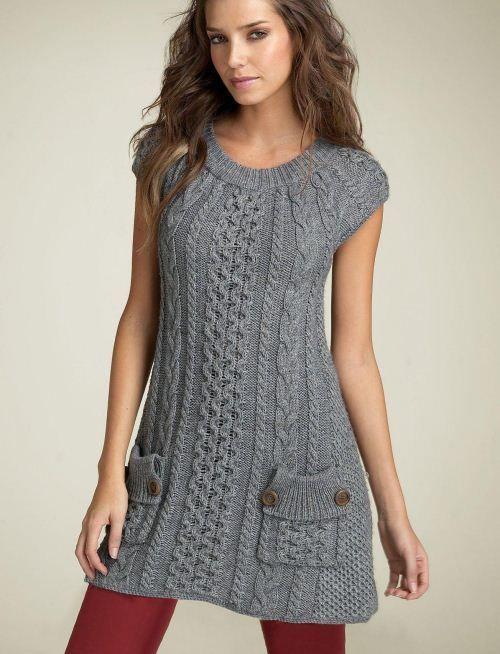 sive pletene tunika haljina sa džepovima