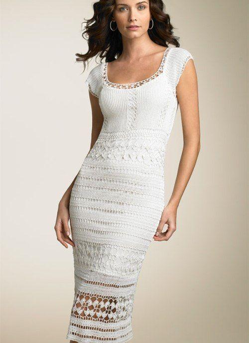 Bijela duga plesti haljinu za odmor od