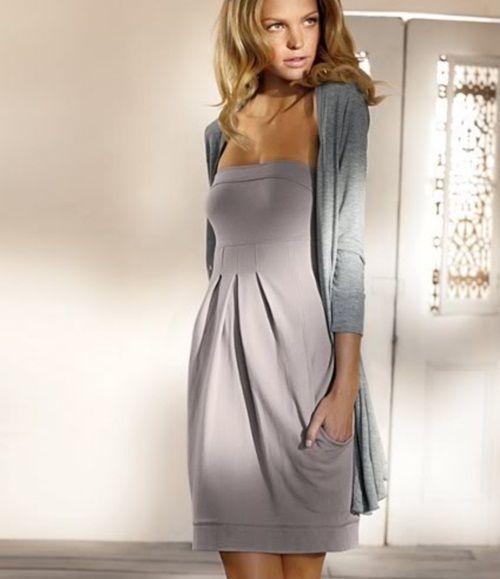 Kombinacija sive haljine i kardigan