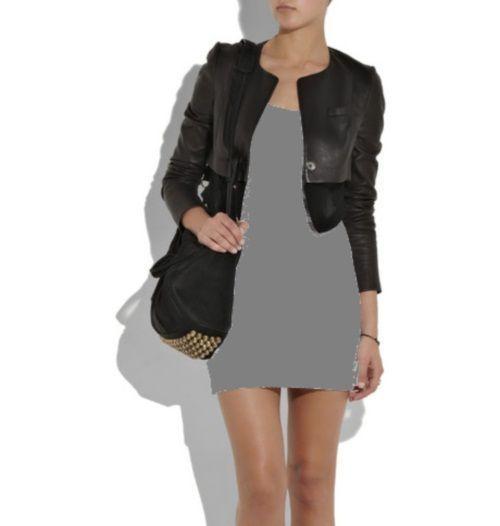 Kombinacija sive haljine i crna jakna